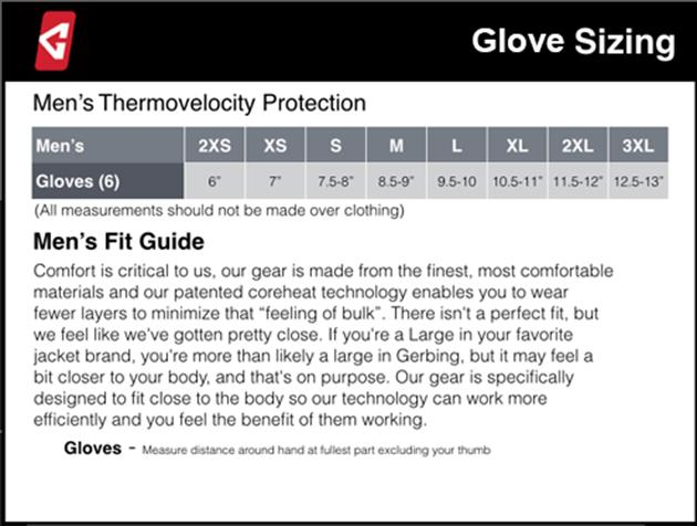 Gerbing's Men's Glove Sizing