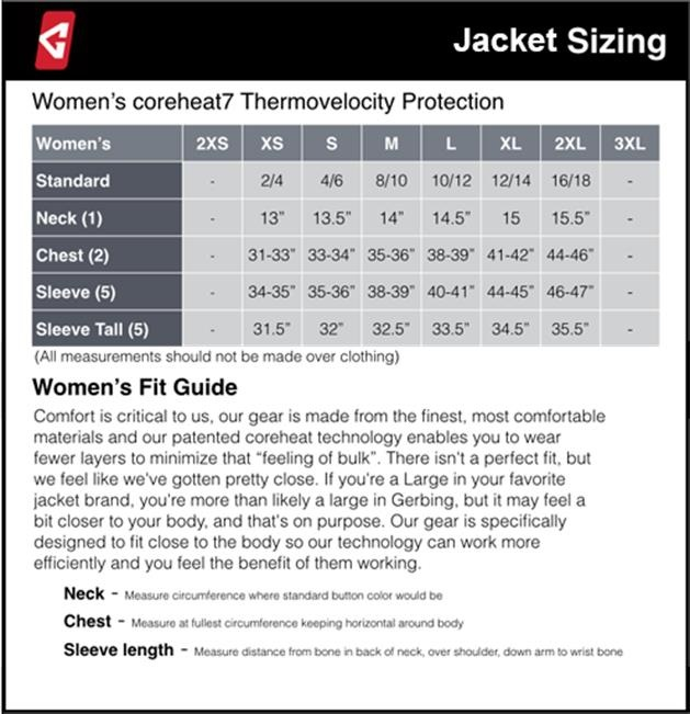 Gerbing's Gyde Heated Jacket Size Guide