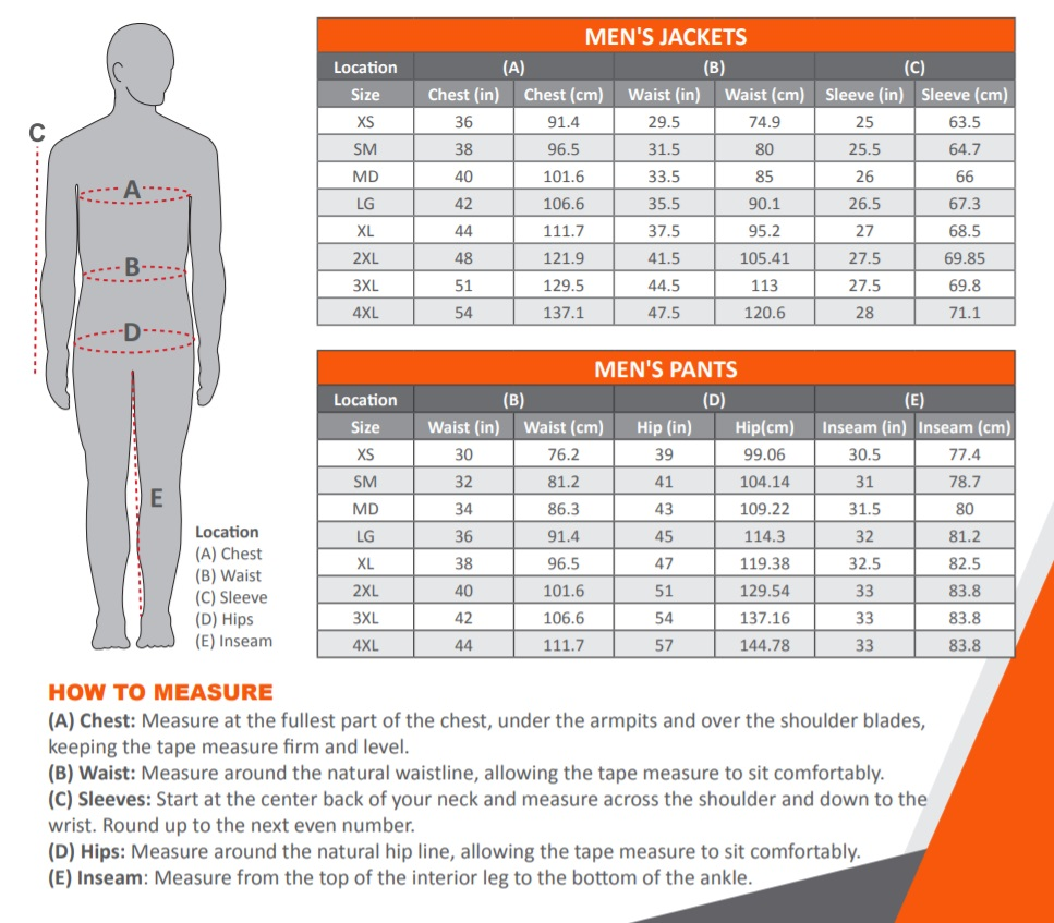 Mobile Warming Heated Clothing Longmen Pants Size Chart