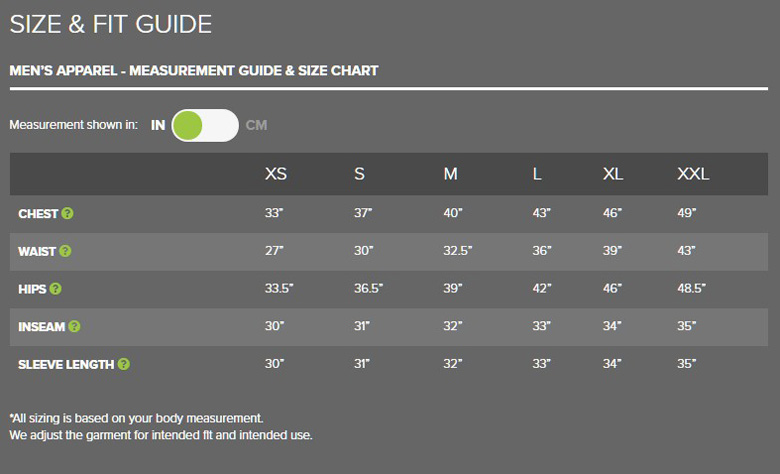 OR mens top size chart