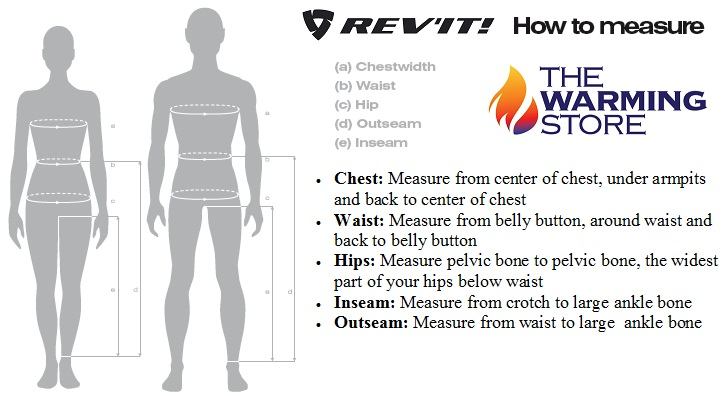 REV'IT Jacket Size Chart