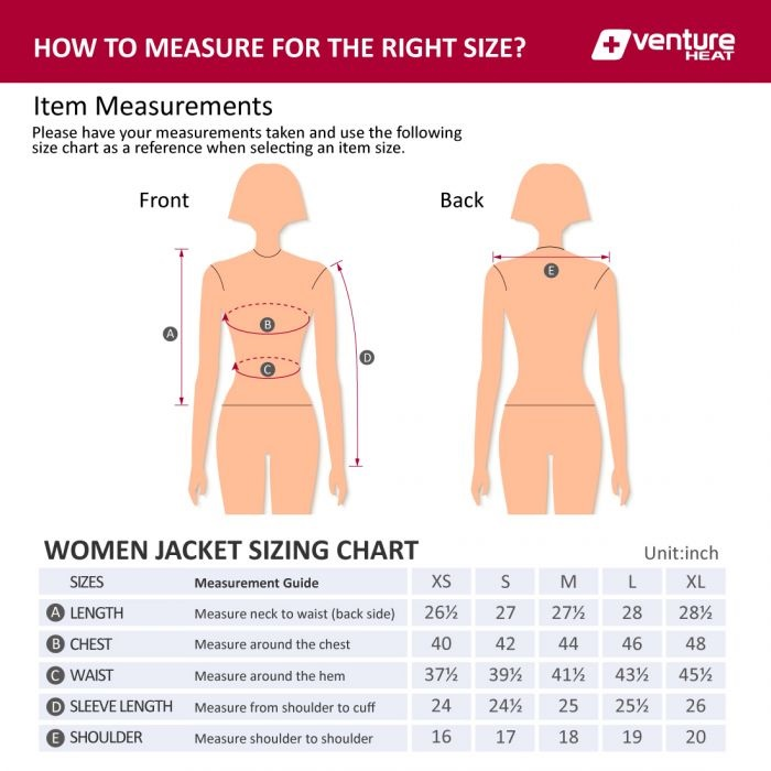 Venture Heat Women's Jacket Size Chart