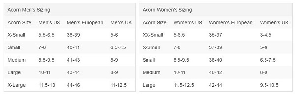 Acorn Socks Sizing