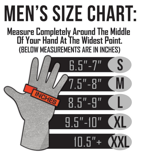 ActionHeat Battery Heated Clothing Men's Heated Glove Size Chart
