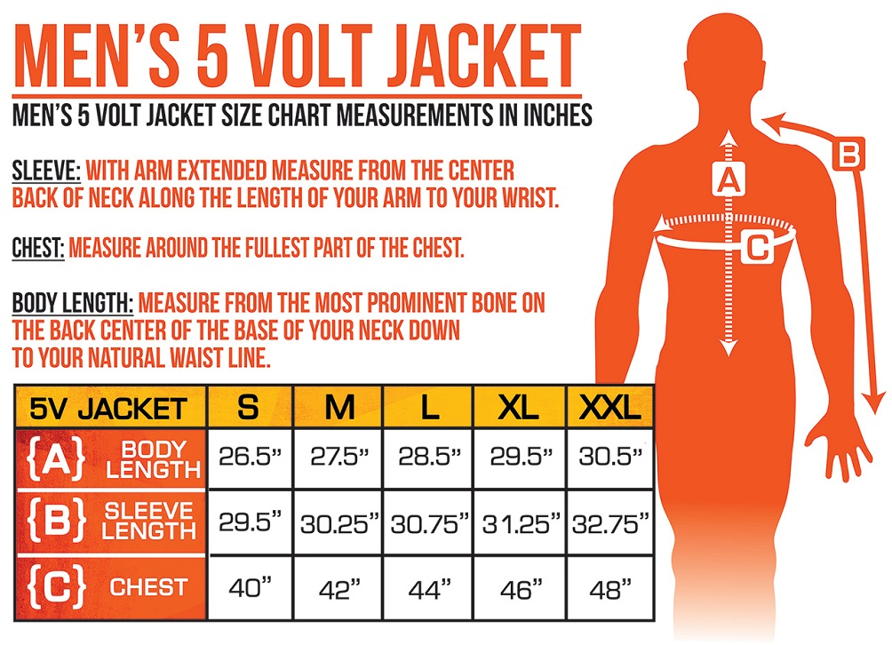 ActionHeat Battery Heated Clothing Men's Jacket Size Chart