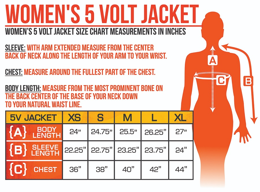 ActionHeat Battery Heated Clothing Women Jacket Size Chart