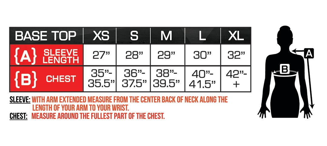 Battery Heated Women's Shirt Size Chart