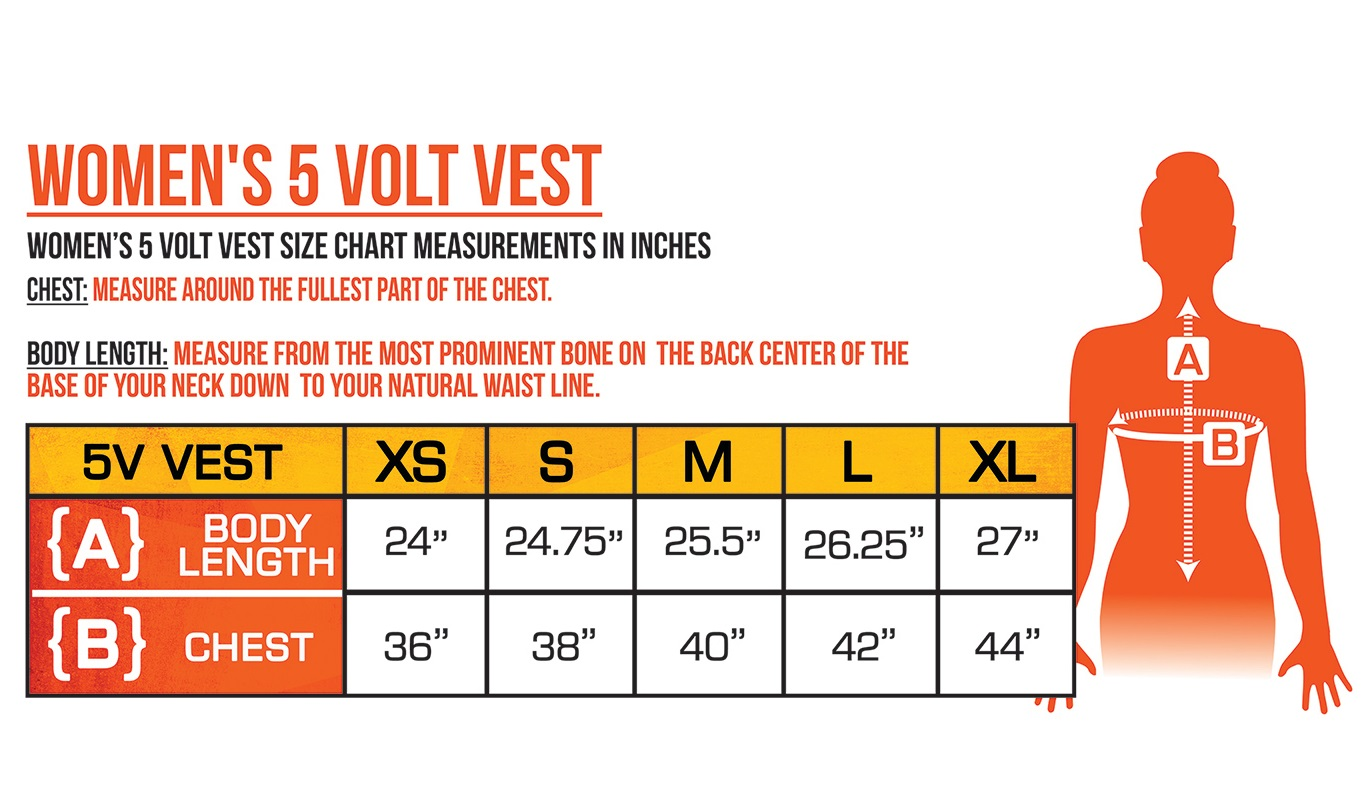 ActionHeat Battery Heated Clothing Women's Vest Size Chart