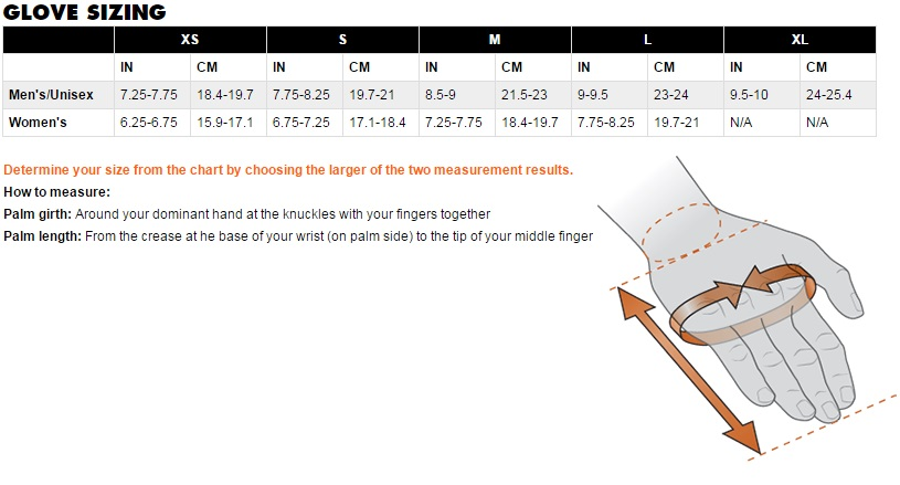 Black Diamond Equipment Glove Size Chart