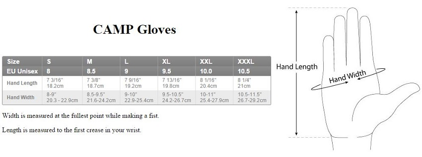 camp gloves size chart