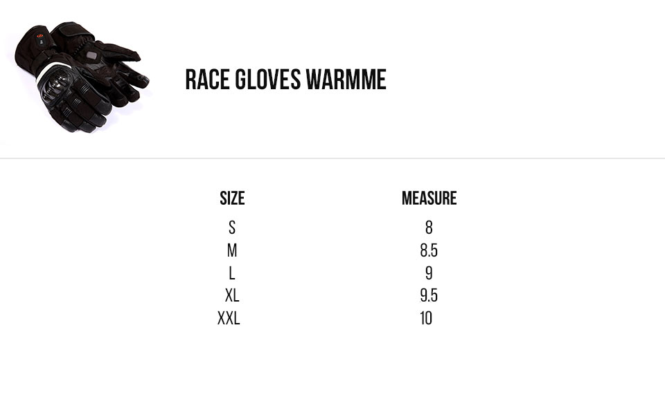 capit size race gloves