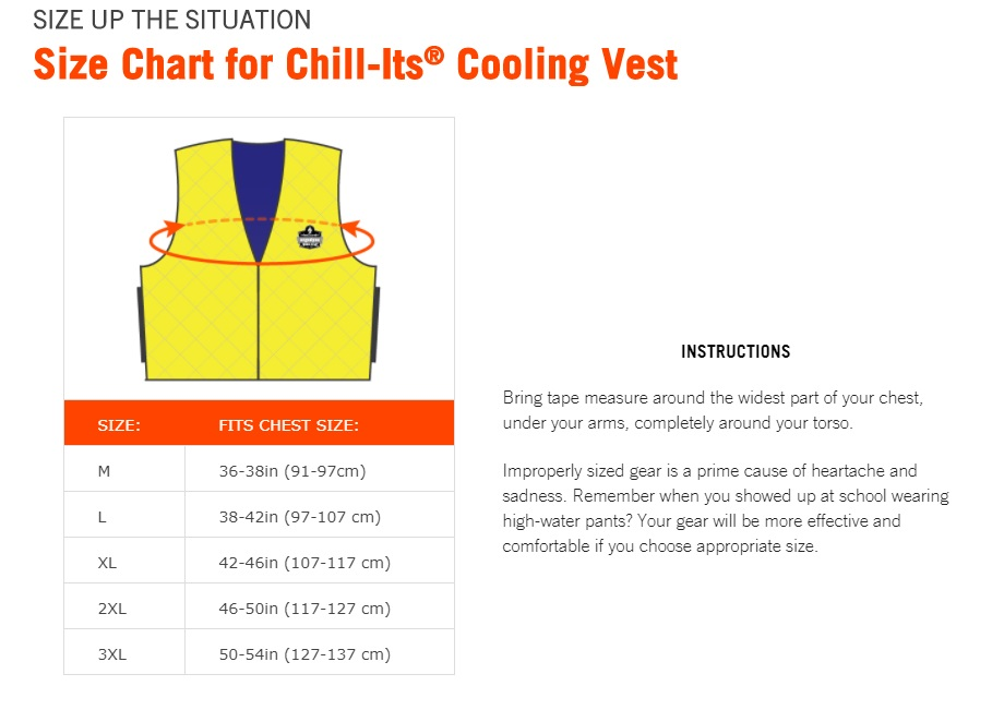 Chill-Its Cooling Vest Size Chart