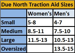 Due North All Purpose Traction Aid Size Chart - Get-A-Grip Size Chart