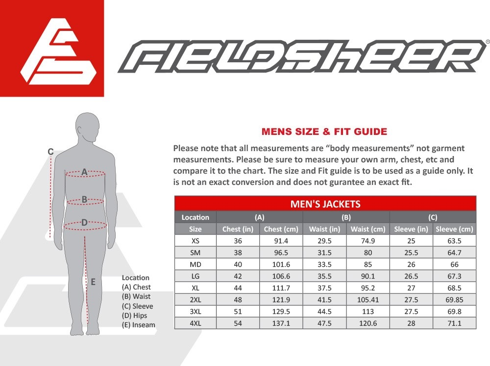 Fieldsheer Heated Jacket Size Chart