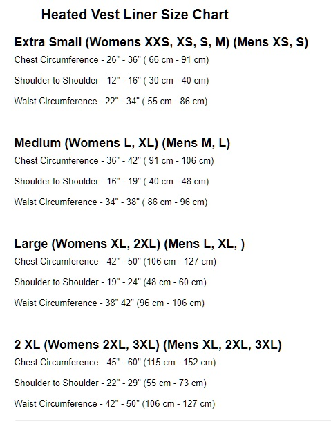 Fired Up X size chart