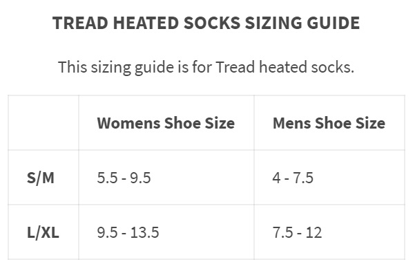 gobi heat heated sock size chart