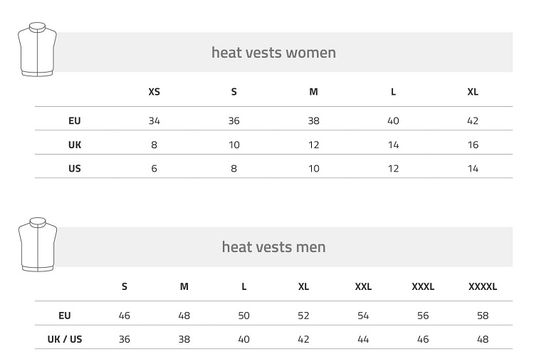 Lenz Heated Vest Size Chart
