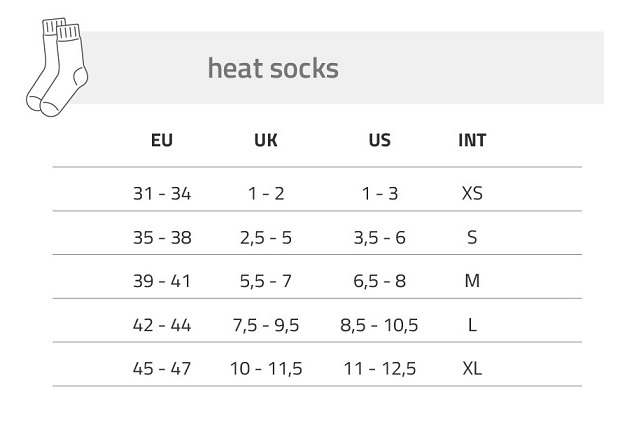 Lenz Heated Sock Size Chart