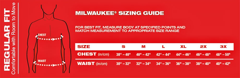 Milwaukee Heated Jacket Size Chart Men