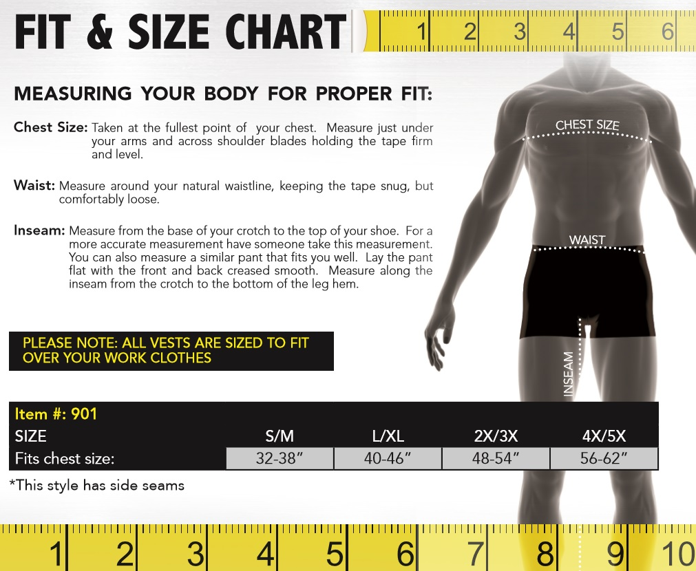 Occunomix MiraCool 901 Size Chart