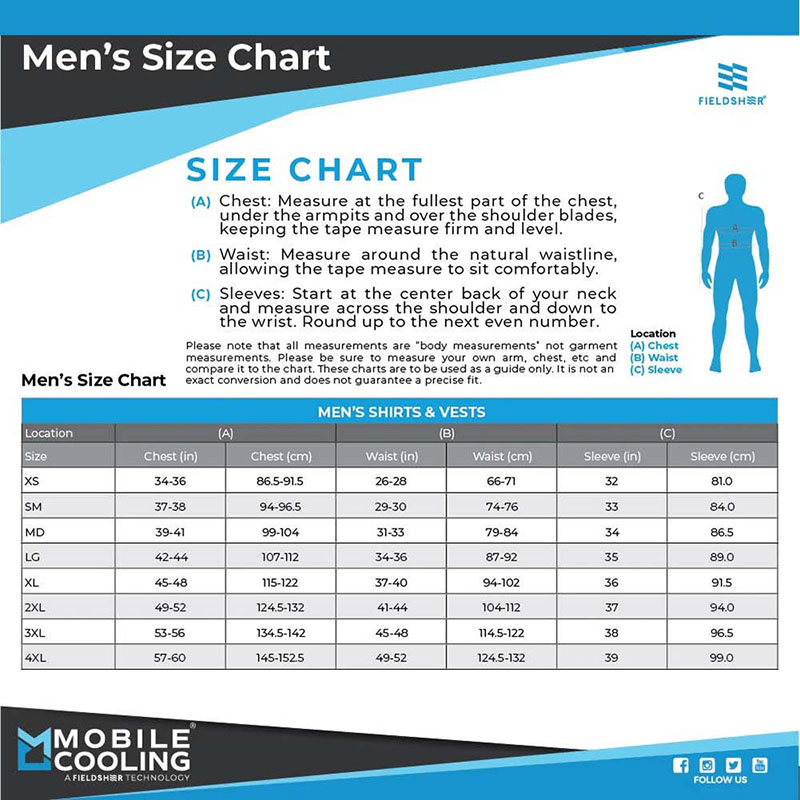 mobile cooling men size chart