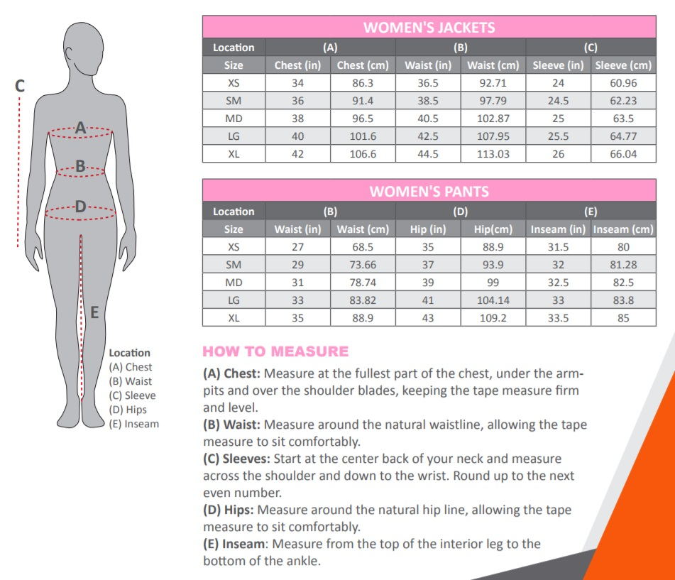 Mobile Warming Heated Clothing Size Chart Women