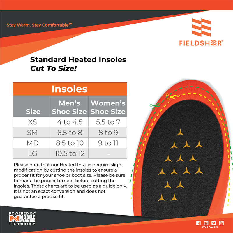 Mobile Warming Heated Insoles Size Chart