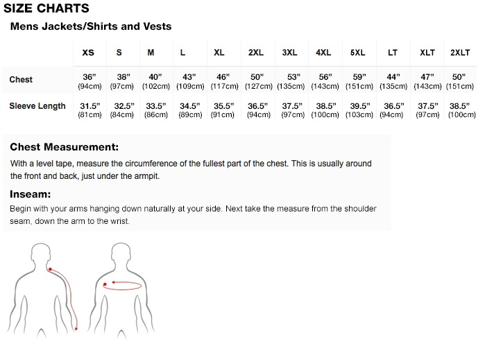 Mobile Warming Menn Jacket & Vest Sizing