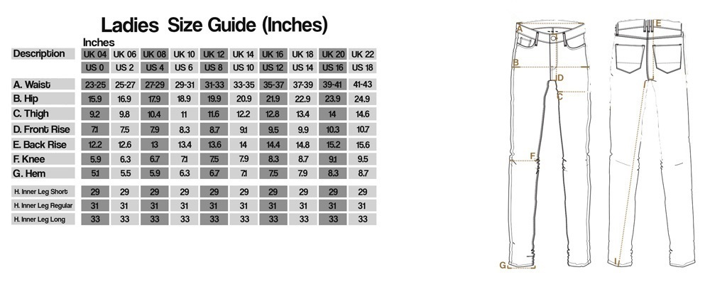oxford ladies pant size chart
