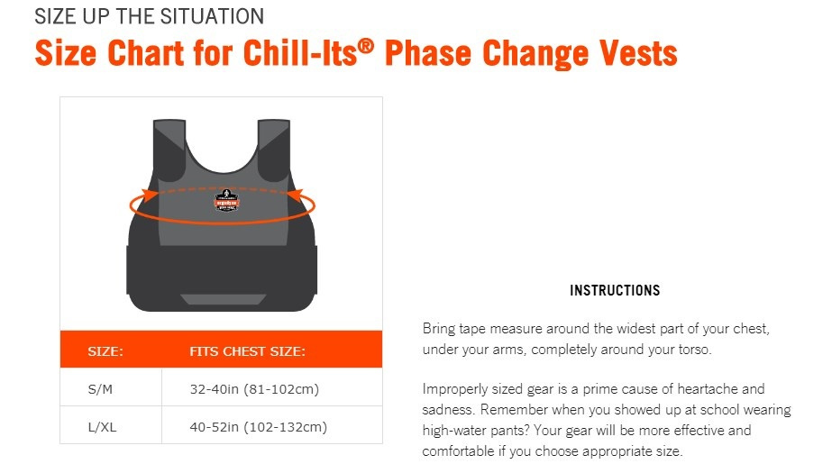 Chill-Its Cooling Phase Change Vest Size Chart
