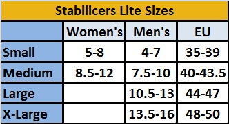 32 North Stabilicers Lite Size Chart