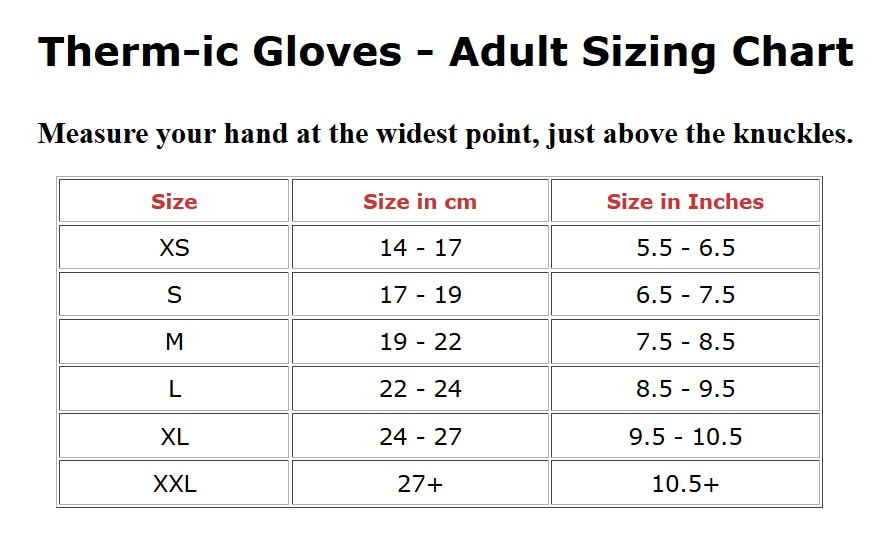 Therm-ic Glove Size Chart