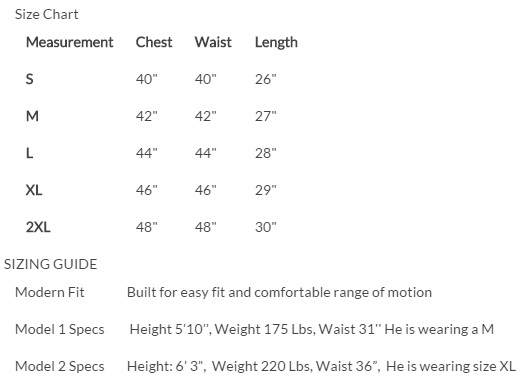 Venture Heated Clothing BH-9370 Size Chart