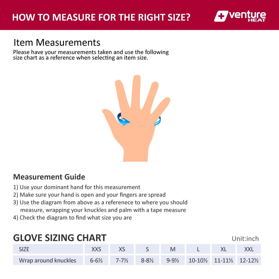 Venture Heat Gloves Size Chart