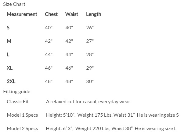 Venture Heated Clothing Vest Size Chart