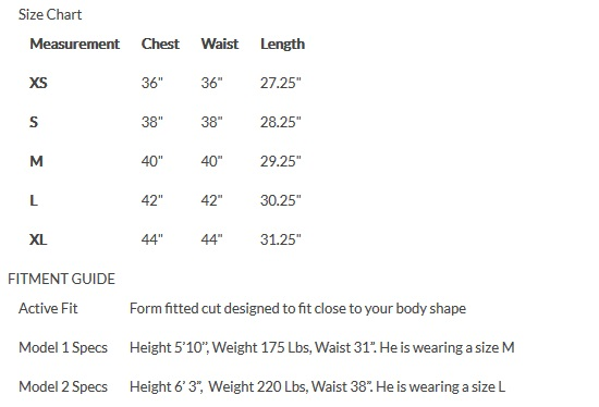 Venture Heated Hoodie Size Chart