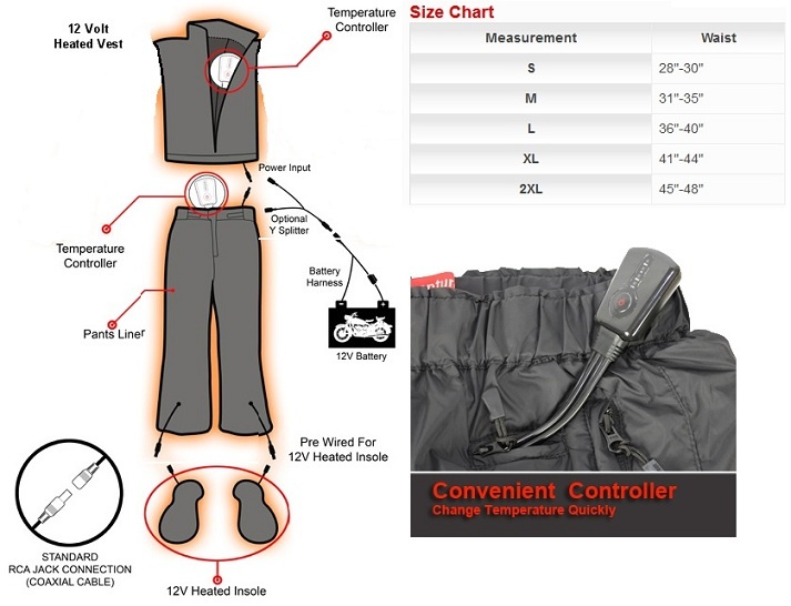 Battery Heated Clothing >> Venture Heat 12v Motorcycle Heated Pant Liners