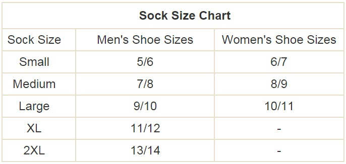 Volt Heated Sock Liner Size Chart