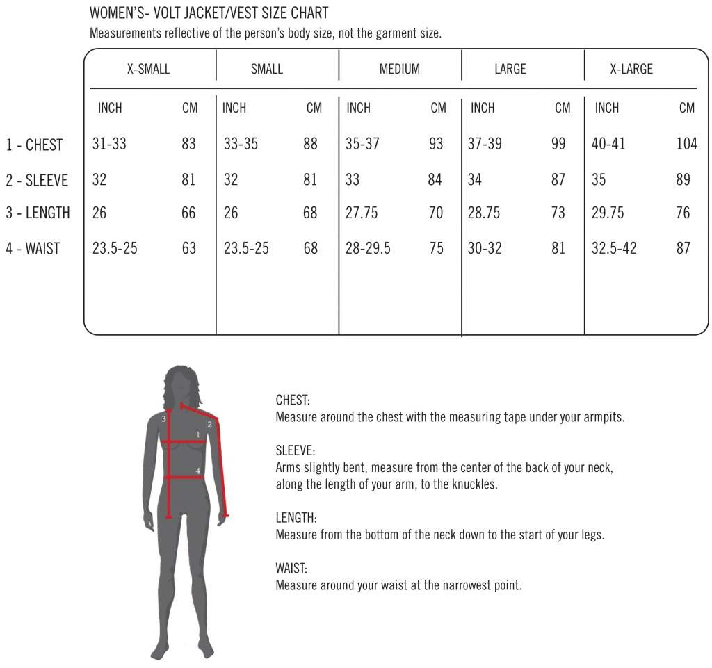 Volt Heat Women's Jacket and Vest Size Chart