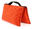 filled saddle sandbags orange