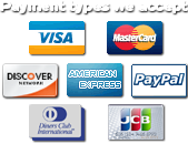 Payment Methods Accepted: Discover, Visa, MasterCard, AMEX, JCB, Diners and PayPal