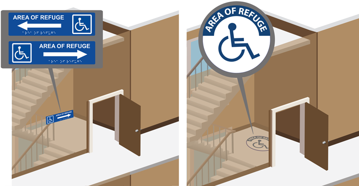 Area of Refuge Directional and Floor Signs: Raised Lettering with Braille Signage and Floor Decals