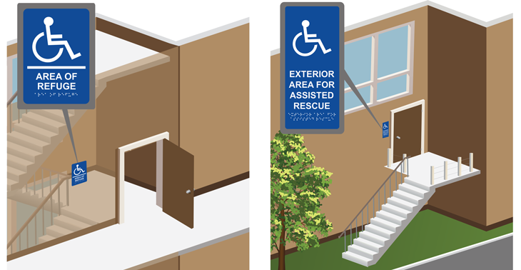 Area of Refuge Interior/Exterior Door Signs: Raised Lettering with Braille and Exterior Signage