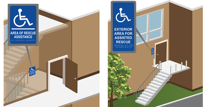 Area of Rescue Assistance Interior/Exterior Door Signs: Raised Lettering with Braille and Exterior Signage