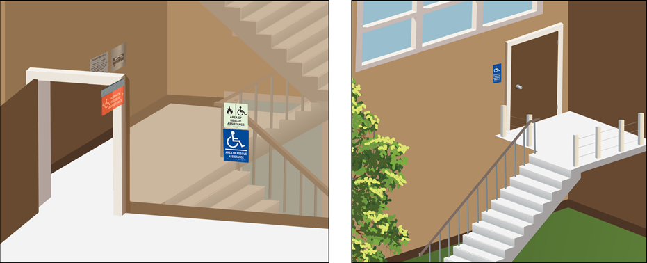 Code requirements state that proper signage must be visible to direct individuals to an Area of Rescue. Choose from Directions for Call Box Use, Illuminated, Door or Directional signage.