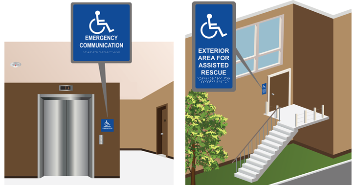 Elevator Landing (Emergency Communication) Interior/Exterior Door Signs: Raised Lettering with Braille and Exterior Signage