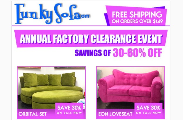 Funkysofa Is Curly Conducting It S Annual Factory Showroom Clearance Event All Items Are Ed Off The Already Reduced Price