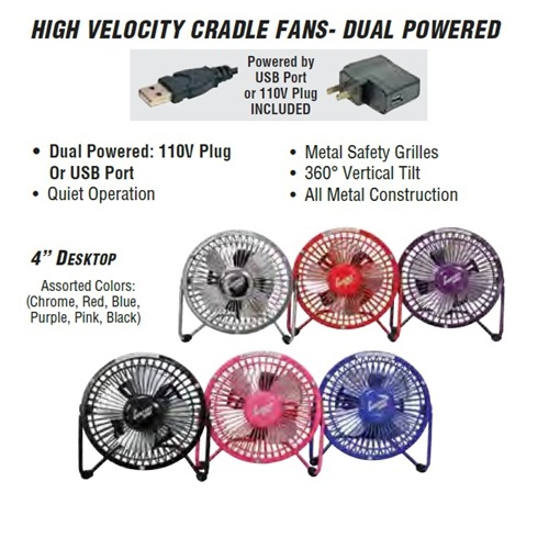 Comfort Zone 4 Inch High Velocity Cradle Fan