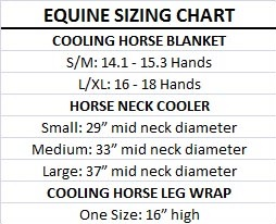 equine cooling size chart