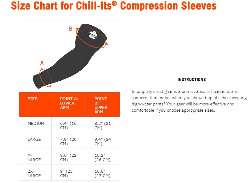 Chill-Its Cooling Sleeves Size Chart